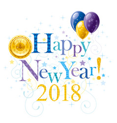 Happy new year 2018 blue golden logo icon border vector