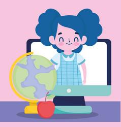 happy teachers day student girl in computer vector image