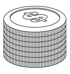heap of coin icon outline style vector image