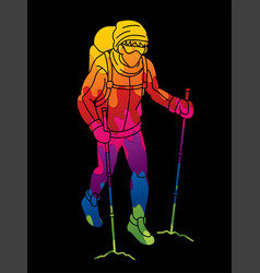 Hiker climbing mountain hiking cartoon graphic vector