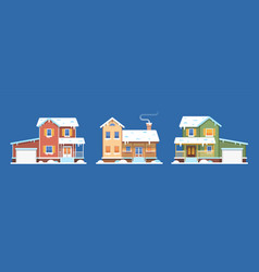 homes in snow winter houses cottages vector image