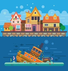 Houses by the sea vector image