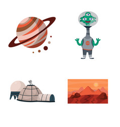 Isolated object space and galaxy logo set of vector