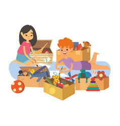 Kids painting and playing with toys together in vector
