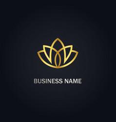 lotus flower beauty gold logo vector image