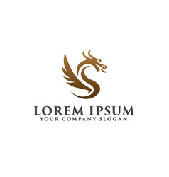 Luxury dragon logo design concept template vector