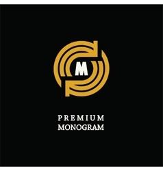 Modern template monogram emblem logo circle vector