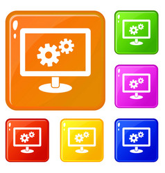 Monitor settings icons set color vector