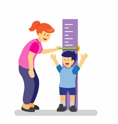 Mother or teacher measuring height boy kids vector