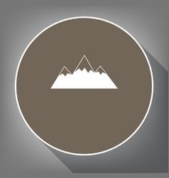 mountain sign white icon on vector image