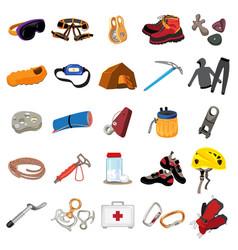 Mountaineering equipment icons set cartoon style vector