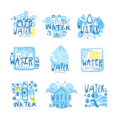 Natural water set for label design colorful hand vector