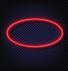 neon light oval banner neon light frame vector image