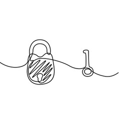 padlock with key continuous line drawing vector image