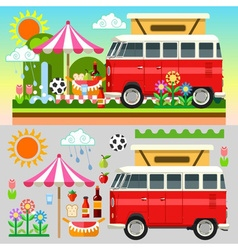 Picnic Summer Time Summer Picnic 3D Flat Set 01 vector