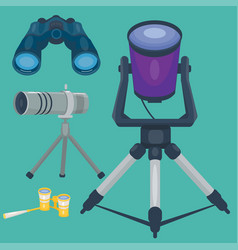 Professional camera lens binoculars glass look-see vector