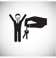 Property key gifting hand on white backgorund vector