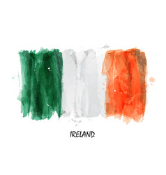 Realistic watercolor painting flag of ireland vector