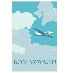 Retro airplane bon voyage vector