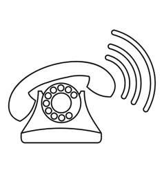 Retro phone ringing icon outline style vector