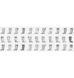 rubber boots designs doodle set vector image