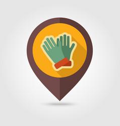 Rubber garden gloves flat pin map icon vector