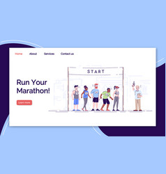Run your marathon landing page template city vector