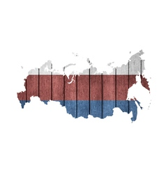 Russian Map With Wooden Flag vector image