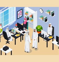 Saudi people in office composition vector