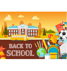 School building and bus vector