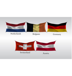 set flags of european countries waving flag of vector image