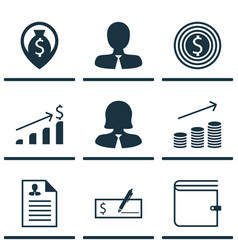 set of 9 management icons includes business goal vector image