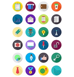 Set of color round business icons vector