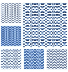 Set of seamless patterns - blue waves and grids vector image vector image