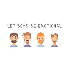 Set text and boys cartoon style emotional vector
