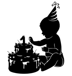 silhouette bawith cake first birthday vector image