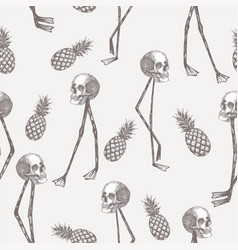skull on flamingo legs pineapple in pencil white vector image
