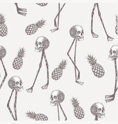 skull on flamingo legs pineapple in pencil white vector image