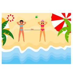 social distancing on beach flat design vector image