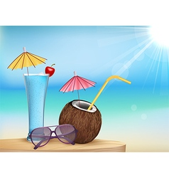 Summer beach juice glasses with young coconut vector
