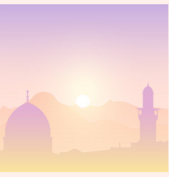 Sunset landscape with mosques vector