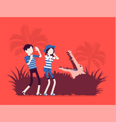 tourists lost in wild nature vector image