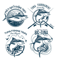 tuna logos sport fishing club logos vector image