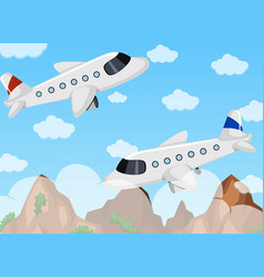 two airplanes flying in the sky vector image