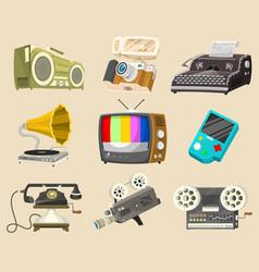 vintage devices icons retro tech media vector image