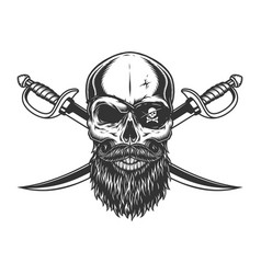 Vintage skull with pirate eye patch vector