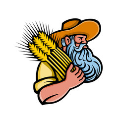 Wheat grain farmer with beard mascot vector