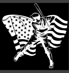 white silhouette baseball player with american vector image