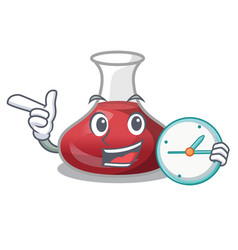 With clock delicious red wine with cartoon vector