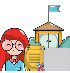 Woman student with diploma in the school vector